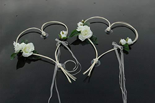 ROMANTISCHE Herzen Auto-schmuck Autoschmuck Braut Paar Rose Deko Dekoration Hochzeit Car Auto Wedding Deko (Weiß 2)