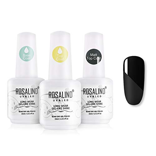 ROSALIND Base y Top Coat y Matte Top Coat Semipermentes, Esmaltes Semipermanentes de Uñas en Gel UV LED Gel Soak Off