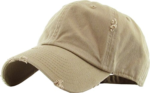 KBETHOS Vintage Washed Distressed Cotton Dad Hat Baseball Cap Adjustable Polo Trucker Unisex Style Headwear (Vintage) Khaki Adjustable