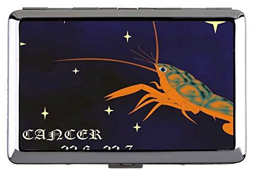 Silber Metall Zigarettenetui, Horoskop Zeichen Krebse Themen der Hard Box und Halter (King Size)