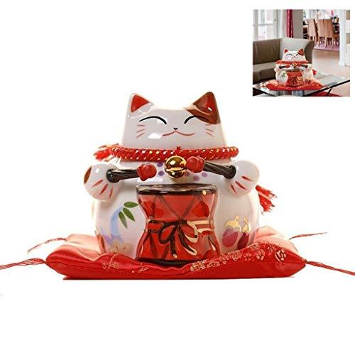 WGD Dong 4.3 Inch Ceramic Lucky Cat, Cat Animal Sculpture Money Box, Maneki Neko Cute FengShui Decor, Home Decoration Porcelain Ornament Crafts (Color : A)