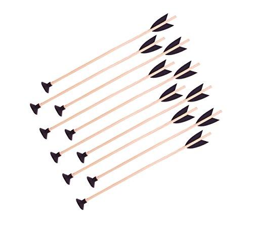10 Stück Holzpfeil mit Saugnapf 50 cm für Pfeil und Bogen