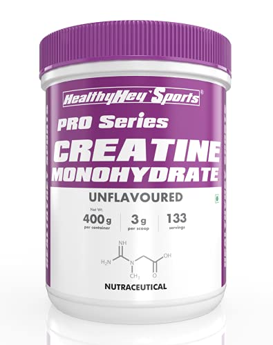 HealthyHey Sports Creatine Monohydrate 400G - 133 Servings (Unflavoured, 400g)