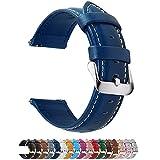 Fullmosa 14mm 16mm 18mm 19mm 20mm 22mm 24mm Bracelet Montre en Cuir Véritable, 12 Couleurs Axus Montre Bracelet à Dégagement Rapide,22mm Bleu Foncé