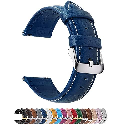 Fullmosa Axus Correa Piel, 12 Colores para Correa Reloj, Huawei Samsung Correa/Banda/Pulsera/Strap 14mm 16mm 18mm 19mm 20mm 22mm 24mm, Azul Oscuro + Hebilla de Plata, 22mm