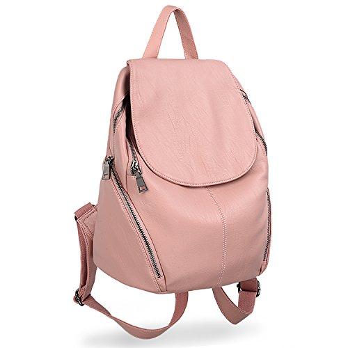 UTO Damen Rucksack Vegan Friendly Washed Leder Große Damen Casual Daily Rucksack Schultertasche Pink