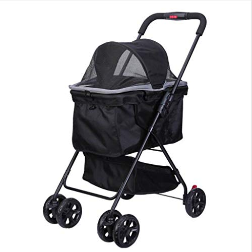 Kays Small Foldable Pram Car Lightweight Carrying Cat Bag Jogger Travel 4 Wheels Black