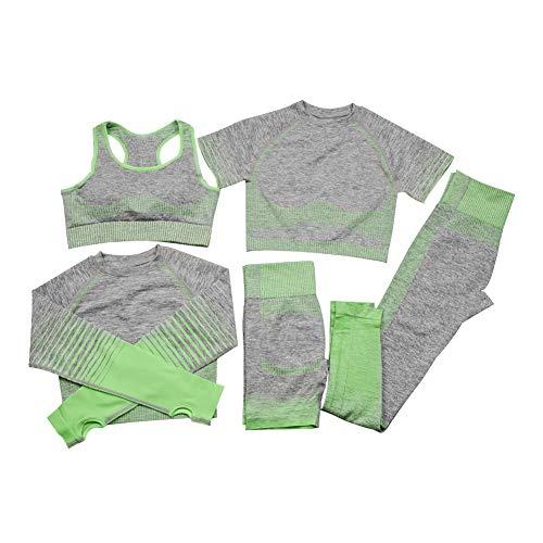 Yoga Set Mujeres Traje Yoga Ropa Fitness Sport Wear Set Bra con Pantalones Cortos Pantalones De Manga Larga Camiseta De Manga Corta De La Camiseta De La Mujer Verde S 5pcs