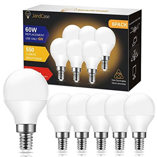 Ampoules LED E14 G45/P45, JandCase 6W ampoule économique, équivalent Ampoule Halogène 60W, ampoule petit culot à vis, Blanc Chaud 3000K, 550 Lumen, CRI80, 240 Degrés Angle, Non-Dimmable, Lot de 6