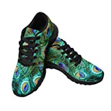 InterestPrint Womens Jogging Sneakers Outdoor Sport Cross Training Shoes US9 Peacock Colorful Feather Background, Shallow Dof.