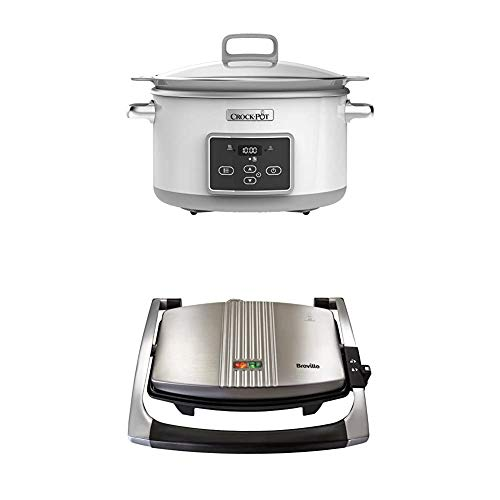 Crock-Pot DuraCeramic Digital Saute Slow Cooker with Hob-Safe Pot, Anti-Stick and Easy Clean, 5 Litre [CSC026] + Breville Sandwich/Panini Press and Toastie Maker, 3-Slice, Stainless Steel [VST025]