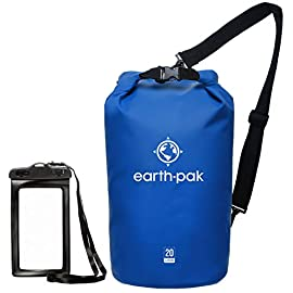 Earth pak -waterproof dry bag - roll top dry compression sack keeps gear dry for kayaking, beach, rafting, boating… 2 reliable protection: we believe our earth pak dry bags are the best out there--bar none. These dry bags are meant to last for years and provide waterproof protection for even the most rugged users. Shoulder strap: 10l & 20l dry bags come with a 24-42 inch single shoulder strap. 30l, 40l, and 55l waterproof backpacks are equipped with backpack style shoulder straps that also come with a sternum strap for added stability. Our new 55l also comes equipped with a heavy duty waist-belt, which relieves added pressure and helps support your load. Ipx8 certified waterproof phone case: we have included our ipx8 certified 6. 5 inch waterproof phone case that will fit even the largest of phones. This case features a very simple snap and lock access that has dual-sided clear windows that allow to take pictures while still inside the case. Suitable for phones up to 6. 5 inches of diagonal screen size.