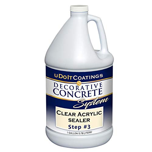 Clear Acrylic Sealer. Industrial Quality & Eco-Friendly. Use on Concrete, Overlays, Pool Deck Textures & Porous Stone. Slight Gloss. Grip, How-to Videos & Customer Service Included. (1 Gallon)