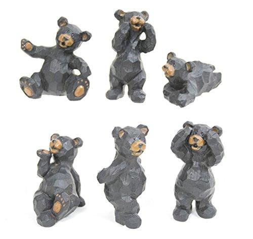Slifka Sales Co. Set of 6 Black Bear Poses Resin Crafted Tabletop Figurines