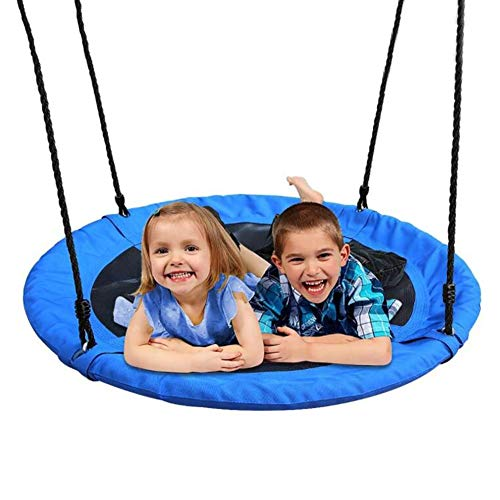 Tree Swing YXX- Two Kids Saucer, Outside Round Hanging Hammock Chair with Adjustable Rope(55-71 in) & Load 150kg, Blue
