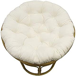 COTTON CRAFT Papasan Ivory - Overstuffed Chair Cushion, Sink into Our Thick Comfortable and Oversized Papasan, Pure 100% Cotton Duck Fabric, Fits Standard 45 inch Round Chair - Chair not Included