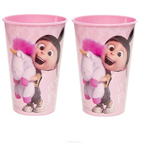 Familienkalender Taza con Agnes, compatible con vasos Disney Minions para niños, 250 ml, apto para microondas, niños, niñas, niños, regalo, sin BPA, unicornio, 2 vasos