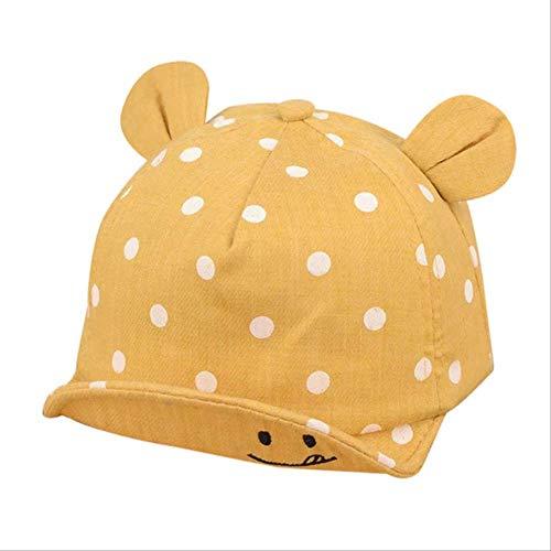 YMKWQF Sombrero De Niño Cute Hats Boys Girls Kids Polka Dot Peak Hat Cara Sonriente Wave Point Gorra De Béisbol Enfant Hat China Yellow