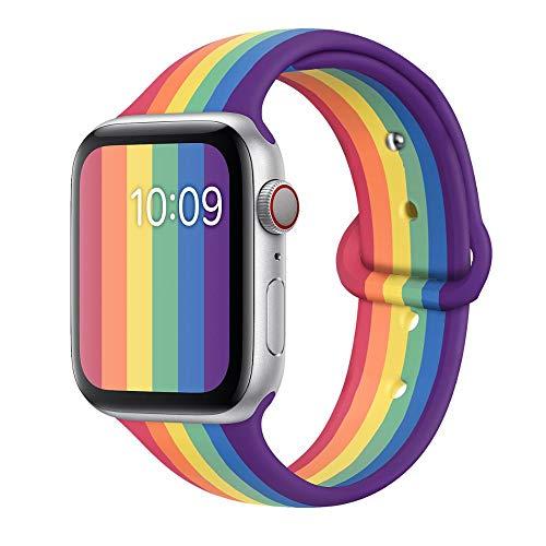 Ternzun Correa de silicona pulsera edición orgullo para Apple Watch Series 6 5 4 3 2 SE 44 mm 40 mm para iwatch Band 42mm 38mm (38 40mm SM, Pride silicona)