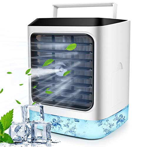 4 In 1 Mobile Klimageräte, Mini Persönliche Luftkühler, Luftbefeuchter, Luftreiniger und Aromadiffusor, USB Klimaanlage Air Cooler, 3 Kühlstufen, 7 Verschiedene LED Farben, Ideal für Heim und Büro