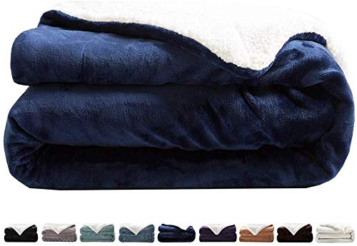 LIANLAM Sherpa Fleece Blanket Queen Size Dual Sided Blanket Super Soft and Warm Fuzzy Plush Cozy Luxury Bed Blankets Microfiber (Royal Blue, 90'x90')