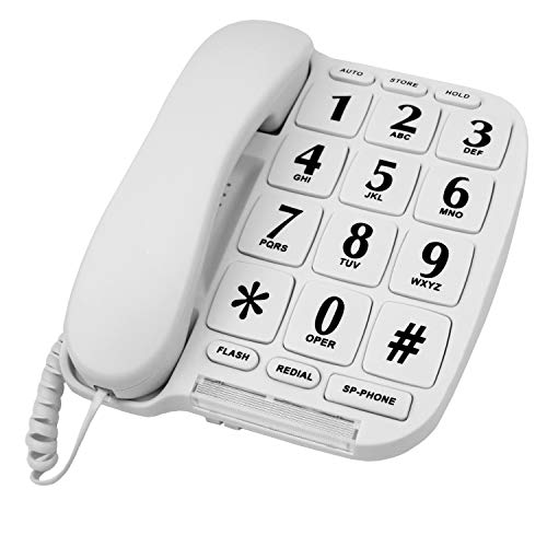 Big Button Phone for Wall or Desk with Speaker and Memory