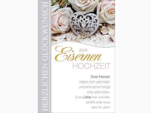 Grußkarte Glückwunschkarte Hochzeitstag Klappkarte mit Briefumschlag - Eisernen Hochzeit - Höhe 17,5 x Breite 11,5cm
