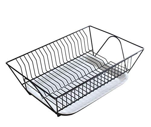 Rejilla para platos con diseño de 1 piso, escurridor de platos de acero inoxidable, soportes para escurridores, ventilados y transpirables, fácil de limpiar, adecuado para cocinas pequeñas, Black