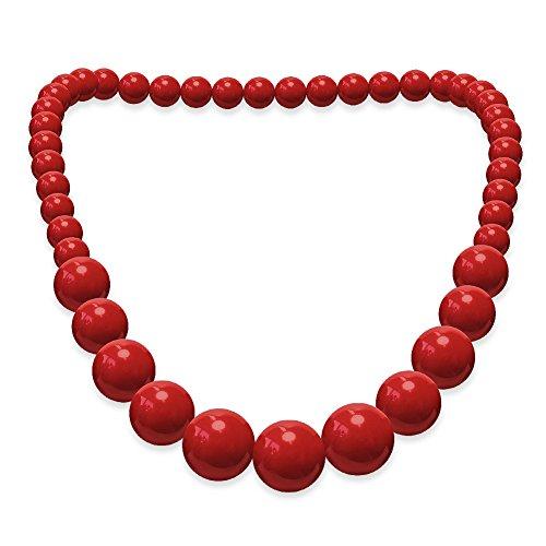 Soul-Cats® Perlenkette Acryl rot schwarz weiß Perlen Halskette Kette, Farbe:rot