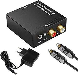 WesKimed DAC Convertidor Digital a Analógico Adaptador Audio Óptico Toslink Coaxial a RCA L/r Jack Digital a Analógico Sop...