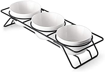 Dowan 3 Pieces Chip and Dip Serving Set with Metal Stand