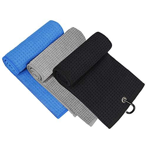 3 Pack Golf Towel, MOSUMI Golf Towel for Golf Bags with Clip, Microfiber Waffle Pattern Golf Towel,Tri-fold Golf Towel