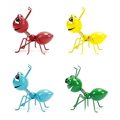 Hormiga De Metal Un Grupo De 4 Insectos Lindos Coloridos para Colgar Arte De La Pared DecoracióN De CéSped De JardíN Esculturas De Pared De Interior Al Aire Libre