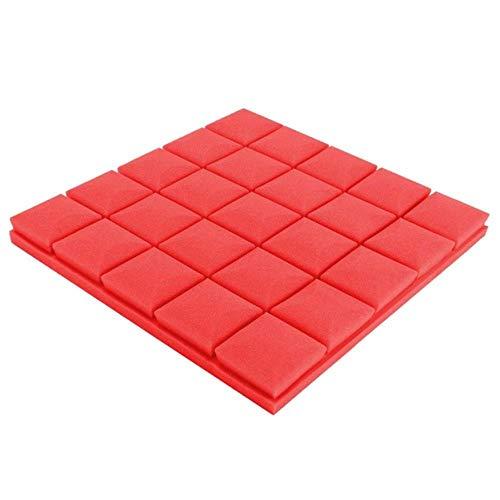 4pcs50x50x5cm Studio Akoestische Geluiddichte Schuim Geluidsabsorptie Behandeling Panel Tegel Wedge Beschermende Spons, Rood, China