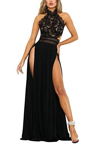 YACUN Damen Lang Kleid Sommer Maxi Hoch Split Spitzen Abend Rückenfrei Party Kleid Schwarz S