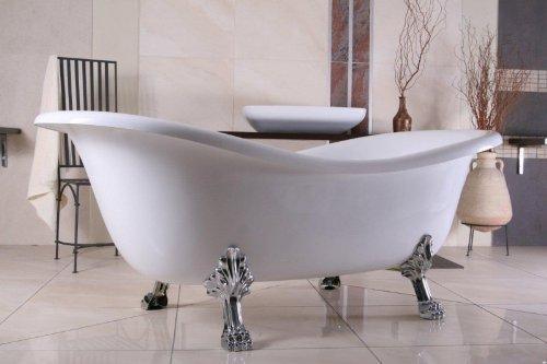 Casa Padrino Freistehende Badewanne Jugendstil Paris Weiß/Silber 1880mm - Barock Badezimmer