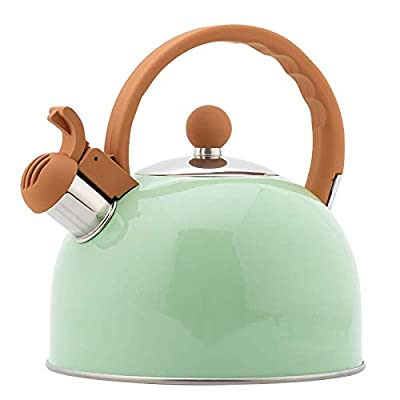 Tea Kettle, VONIKI 2.5 Quart Tea Kettles Stovetop Whistling Teapot Stainless Steel Tea Pots for Stove Top Whistle Tea Pot With Anti-slip Handle Tea kettles Water Kettle Gift Green