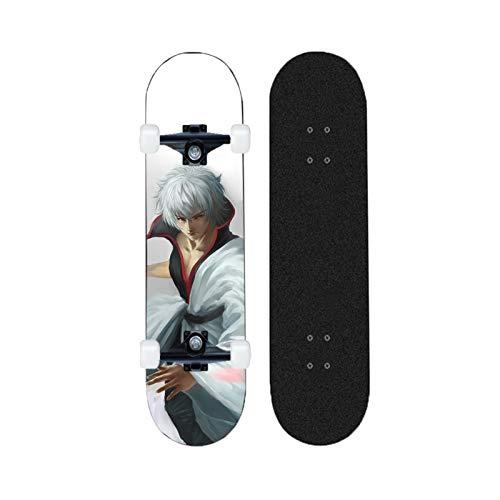 Yizhi Skateboards estándar, Gintama 31'x 8' Cubierta Profesional de Doble Patada para Adultos Adolescentes para Principiantes Chicas niños