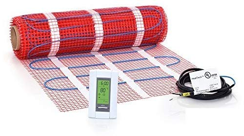 20 Sqft Mat Kit, 120V Electric Radiant Floor Heat Heating System w/Aube Programmable Floor Sensing Thermostat