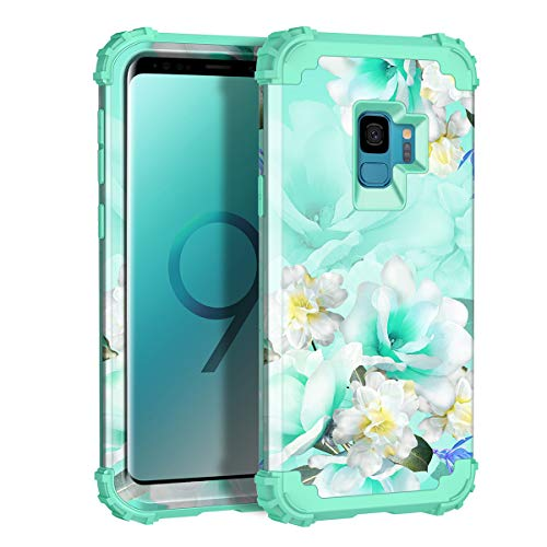 Casetego Compatible with Galaxy S9 Case,Floral Three Layer Heavy Duty Hybrid Sturdy Shockproof Full Body Protective Cover Case for Samsung Galaxy S9,Green/White
