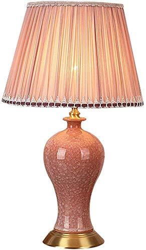 LLYU tafellamp van keramiek, retro-stijl, koperbasis, ideaal voor woonkamer, slaapkamer, nachtkastje voor meisjes en slaapkamer