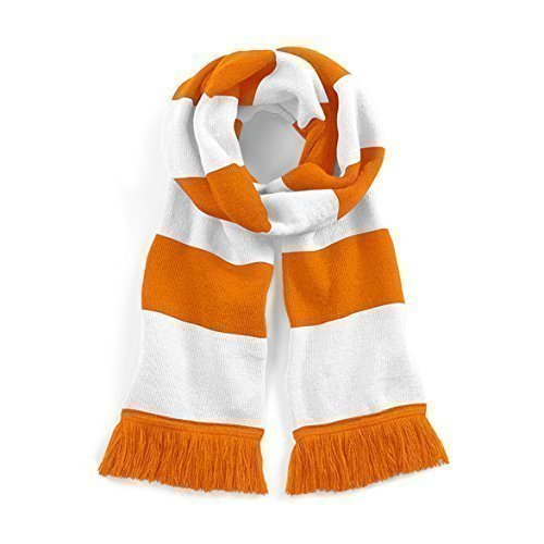 Beechfield Blackpool Retro Style Varsity Bar Scarf - Football/Soccer/Rugby Casquette de Baseball, Multicolour (Orange/White), Taille Unique Mixte