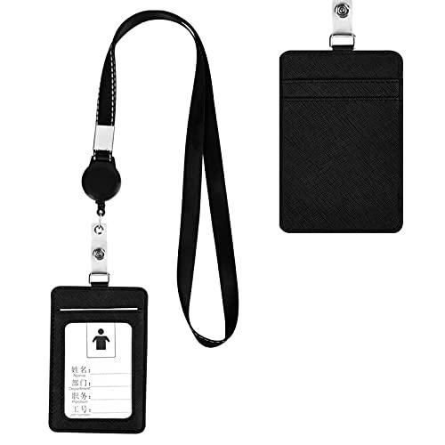PU Leder ID Kartenhalter mit Abnehmbares Lanyard, 2-seitig Leder Ausweishülle Vertikale ID-Karte Namensschild Abzeichenhalter Schutz mit 1 Ausweisfenster, 2 Kartenfächer für Geschäft Schule