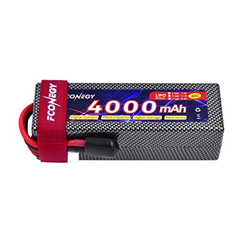 FCONEGY RC Akku 14.8V 4000mAh 4S 40C LiPo Batterie mit Deans T Stecker Modellbau Akkupack für RC Auto Boot Truck LKW Car Batterien