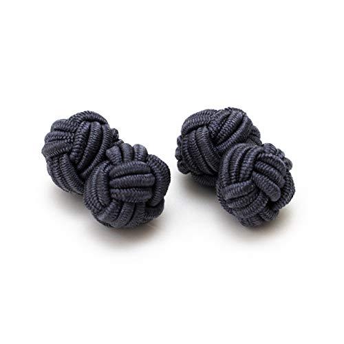 Hersteller: Bull & Drake 1 Paar Seidenknoten Manschettenknöpfe Stoffnoten Knötchen grau Umschlagmanschette Hemd Anzug Business Herren Outfit Gentleman Black Tie