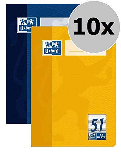OXFORD 100050396 Oktavheft Schule 10er Pack A6 Lineatur 51 - liniert 32 Blatt sortiert gelb & blau