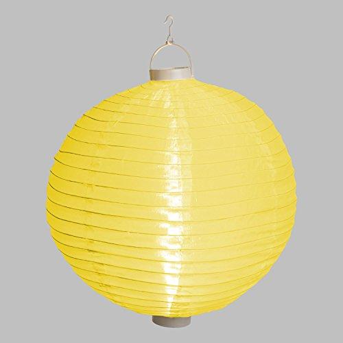 Lanterne Lumineuse lampion en Tissu plastifié Jaune à Pile, Ø 40 cm, 3 LED Blanc Chaud