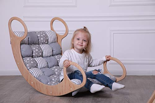 UKa-CHaka Child Rocking Bed, Wooden Rocking Play, Wooden Rocking Chair for Kids 0-12 Years Maxi/Grey BOM