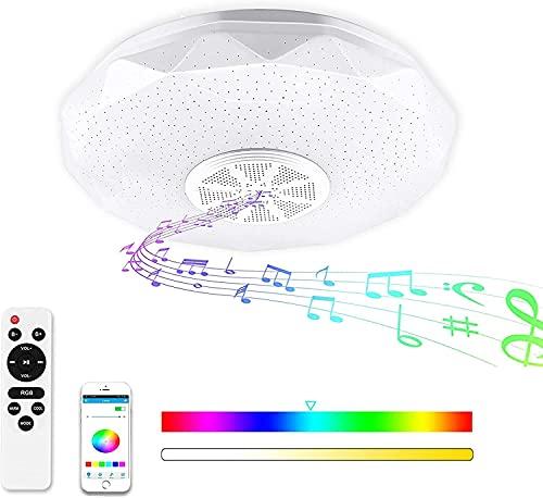 Lámpara De Techo Led Con Altavoz Bluetooth, 36W Moderna Luz de Techo de Música, Control Remoto o de APP, RGB LED Regulable, Lámpara de Música Para Baño, Cocina, Pasillo, Cuarto