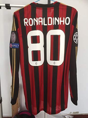 FM Ronaldinho Retro Long Sleeve Soccer Jersey 2013-2014 Full Patch (S)